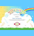 colorful kids summer camp diploma certificate vector image