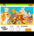 counting cartoon cats and dogs educational game vector image vector image