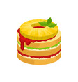delicious fruit dessert decorated with round slice vector image