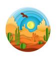desert landscape paper art vector image vector image