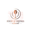 food and drinks plate with fork and wine glass vector image
