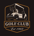 golf cart logo on dark background vector image vector image