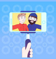hand hold smart phone with stick for selfie photo vector image vector image