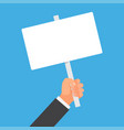 hand holding blank placard vector image vector image