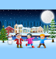 happy kids in the christmas day vector image