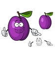 Happy purple cartoon plum fruit giving a thumbs up vector image vector image