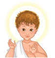 jesus child face cartoon isolated on white vector image vector image