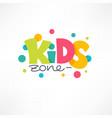 kids zone playful lettering logo composition vector image vector image