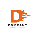 letter d and fire logo vector image vector image