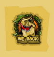 logo with tyrannosaurus and inscription we back