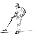 man searches for treasures with a metal detector vector image vector image