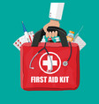 medical first aid kit with pills and thermometer vector image