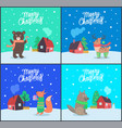 merry christmas bear and fox set poster vector image vector image