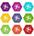 molecule connection icons set 9 vector image vector image