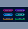 neon abstract buttons for website vector image vector image