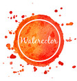 orange watercolor splash circle background vector image vector image