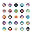 pack of christmas flat icons vector image vector image