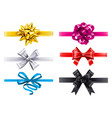 realistic ribbons with bows bow decoration vector image vector image