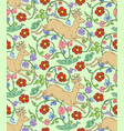 seamless pattern ornament summer deer with flowers vector image