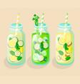 set of detox cocktails vector image