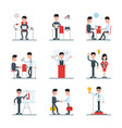set of flat line with cartoon vector image vector image