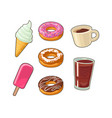 set sweet and cup coffee cola flat vector image
