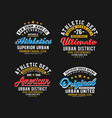 set varsity sport emblem t-shirt graphic vector image