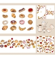 Set with different pastry vector image vector image