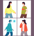 set with young healthy people vector image