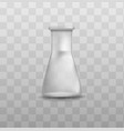 short glass beaker flask with triangle shape and vector image