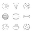 sport game icons set outline style vector image