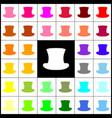 top hat sign felt-pen 33 colorful icons vector image vector image