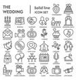 wedding line signed icon set love symbols vector image vector image