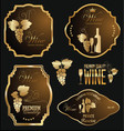 wine gold and brown labels collection vector image vector image