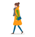 woman walking alone in warm clothes cold weather vector image vector image