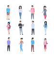 young asian men and women icons set chinese