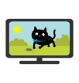 TV set show Black cat with mouse Funny animal vector image