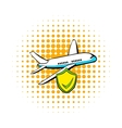 Aircraft insurance icon comics style vector image