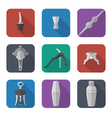 barmen equipment icons set vector image vector image