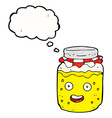 Cartoon honey jar with thought bubble