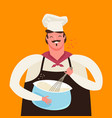 chef or baker whips dough in kitchen cooking vector image