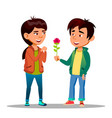 chinese boy gives a girl red peony as symbol of vector image