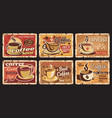 coffee house hot drinks rusty metal plates vector image vector image