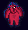 cool cartoon funny monster simple red weird vector image vector image