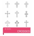 Crosses icon set vector image vector image