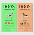dogs shopping day flyers vector image vector image