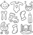 doodle of baby object art vector image vector image