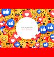 emoji background smiley icons for social media vector image