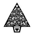 folk-christmas-tree-card-2-black vector image