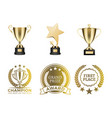 goblets and certificates for win in contest set vector image vector image